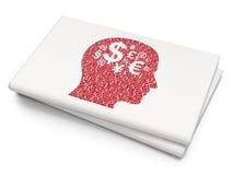 Financiënconcept: Hoofd met Financiënsymbool op Lege Krantenachtergrond Stock Afbeeldingen