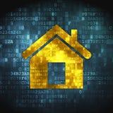 Financiënconcept: Huis op digitale achtergrond Stock Afbeelding