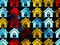 Financiënconcept: Huispictogrammen op Digitale achtergrond Stock Afbeeldingen