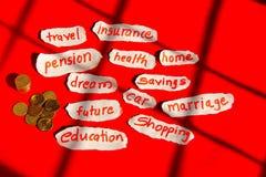 Financiënconcept met uitgaven zoals etiketten, met Indische muntstukkenmunt Stock Afbeelding