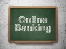 Financiënconcept: Online Bankwezen op bordachtergrond Royalty-vrije Stock Afbeelding