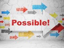Financiënconcept: pijl met Mogelijk! op de achtergrond van de grungemuur Stock Foto's