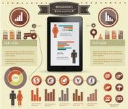 Financiënconcept, Retro Infographics en Elementen Stock Foto's