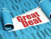Financiënconcept: rode tekst Grote Overeenkomst onder het stuk van gescheurd document Stock Foto