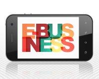 Financiënconcept: Smartphone met E-business op vertoning stock illustratie