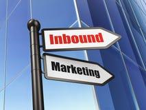 Financiënconcept: teken Binnenkomende Marketing bij de Bouw van achtergrond Stock Foto
