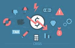 Financiëncrisis met het vallen onderaan grafiek en gelddaling royalty-vrije illustratie