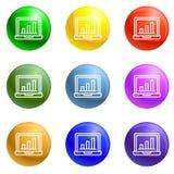 Financiënlaptop pictogrammen geplaatst vector vector illustratie