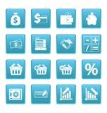 Financiënpictogrammen op blauwe vierkanten Stock Afbeeldingen