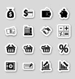 Financiënpictogrammen op stikers Stock Afbeeldingen