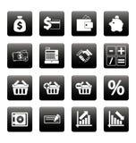 Financiënpictogrammen op zwarte vierkanten Stock Afbeeldingen