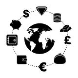 Financia ícones Imagens de Stock