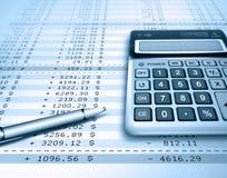 Financial. Bill with calculator and pen , finance concept Stock Photos