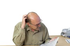 Financial account. Project manager look at the financial account Stock Photography