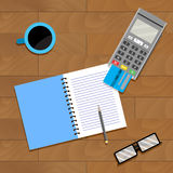Financial accountant banking. Accountancy home and notebook, vector illustration Royalty Free Stock Photos