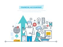 Financial accountant. Financial workers. Analyzing, accounting finance statistics, audit. Financial accountant. Financial workers. Aanalyzing and accounting Royalty Free Stock Image