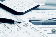Financial accounting stock market graphs Royalty Free Stock Images