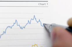 Financial accounting. Increase in the stock chart Stock Photos