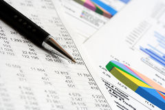 Financial accounting stock market graphs charts Royalty Free Stock Photography