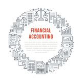 Financial accounting circle poster with flat line icons. Bookkeeping brochure concept, tax optimization, loan, payroll. Real estate crediting. Accountancy Royalty Free Stock Image