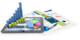 Financial accounting concept. Graphics, calculator, pen, tablet and financial documents Stock Photo