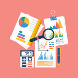 Financial accounting concept. organization process, analytics. Research, budget planning, report, market analysis. Flat Style. Vector illustration Stock Image