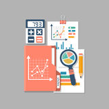 Financial accounting, concept. Organization process, budget planning, report, market analysis. Flat style vector illustration. Research analytics charts and Royalty Free Stock Photos