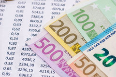 Financial Accounting document  with euro notes. Close up Stock Images
