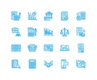 Financial accounting flat line icons. Bookkeeping, tax optimization, firm, accountant outsourcing, payroll, real estate. Financial accounting flat line icons Royalty Free Stock Images