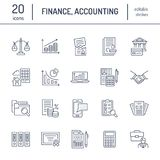 Financial accounting flat line icons. Bookkeeping tax optimization, firm dissolution, accountant outsourcing, payroll. Financial accounting flat line icons Stock Photo