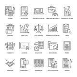Financial accounting flat line icons. Bookkeeping, tax optimization, firm dissolution, accountant outsourcing, payroll. Real estate crediting. Accountancy Royalty Free Stock Photo