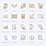Financial accounting flat line icons. Bookkeeping, tax optimization, firm dissolution, accountant outsourcing, payroll. Real estate crediting. Accountancy Royalty Free Stock Photography