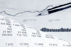 Financial accounting graphs and charts analysis Stock Images