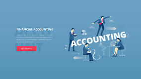 Financial accounting hero banner. Vector illustrative hero banner of financial accounting. Marketing hero website header with men and women business characters Royalty Free Stock Photos