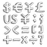 Financial & Accounting Icon Set. An icon set of letters and figures in sketch style. It contains hi-res JPG, PDF and Illustrator 9 files Stock Image