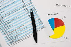 Financial accounting, Pen on the balance statement sheets. stock photo