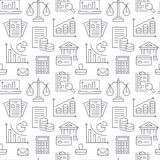 Financial accounting seamless pattern with flat line icons. Bookkeeping background, tax optimization, loan, invoice. Real estate crediting. Accountancy Stock Images