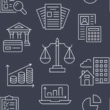 Financial accounting seamless pattern with flat line icons. Bookkeeping background, tax optimization, loan, invoice. Real estate crediting. Accountancy Royalty Free Stock Image