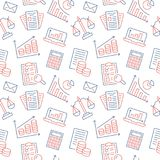 Financial accounting seamless pattern with flat line icons. Bookkeeping background, tax optimization, loan, payroll. Real estate crediting. Accountancy Stock Images