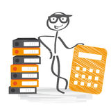 Financial accounting. Stick figure with calculator and file folders Royalty Free Stock Images