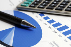 Financial accounting stock market graphs analysis Royalty Free Stock Images
