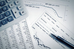 Financial accounting stock market graphs analysis Stock Photography