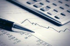 Financial accounting stock market graphs analysis Royalty Free Stock Image