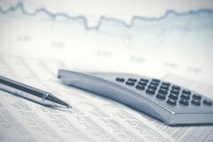 Financial accounting stock market graphs analysis. Financial accounting stock market graphs and charts analysis stock photography