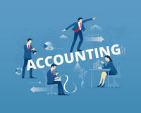 Financial accounting typographic poster. Business metaphor of financial accounting. Businessmen and businesswomen faceless characters in action around word Stock Photography