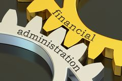 Financial Administration concept on the gearwheels, 3D rendering Stock Photography