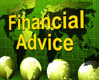 Financial Advice Indicates Business Help And Finances. Financial Advice Meaning Inform Figures And Business Royalty Free Stock Image