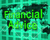 Financial Advice Indicates Help Answers And Earnings. Financial Advice Representing Info Earnings And Help Royalty Free Stock Photo