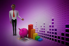 Financial adviser with investment concept. In color background Stock Photos