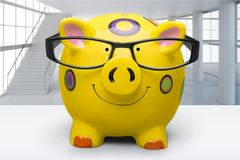Financial Adviser. Pig Tax Intelligence deduction Finance Bizarre Stock Photo